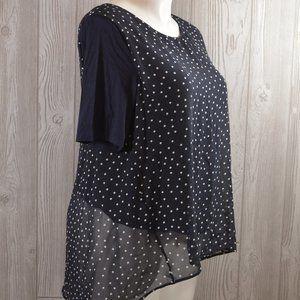 Ann Taylor Top Shirt Navy Polka Dot PLUS SIZE XL